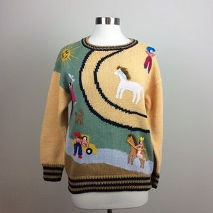 Lumy Hand Knit Western Appliqued 3D cotton sweater